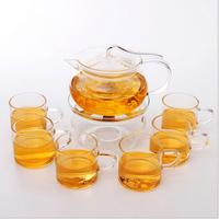Haonai hot sale glass tea set !7pcs glass tea sets with silk-screen