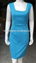 Instyles blue Square Collar Celeb Sexy Slim Bodycon Pencil Dress Cocktail Party for Lades