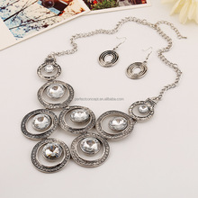 Antique Gold Silver Necklace Earring Set Double Point out Glass Stone Necklace Set Chain Link necklace-150729-77
