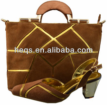 2014 best fashion genuine leather shoe and bags for wedding
