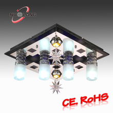 high quality decorative rattan deer head crystal ceiling lamp
