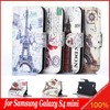 Magnetic Retro Eiffel Tower Pattern Color Printed Flip Leather Case Cover for Samsung S4 mini