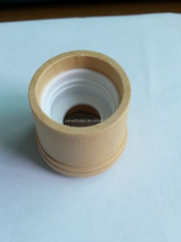 Small qty supply 24mm white color thread perfume glass bottle 's wooden top with metal ring