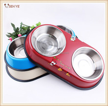 Hot sale high quality stainless steel pet dog bowls printed double dog bowls