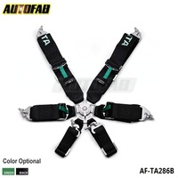 "AUTOFAB - Universal JDM 3"" 6 point Universal Seat Belt Harness Kit(Black/ Green) AF-TA286"