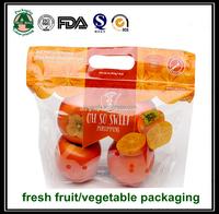 Fresh vegetable/fruit plastic packaging bag/print stand up zipper bag for fruit