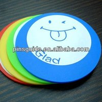 Small Size Round Shaped 2D Or 3D Soft PVC Cork Backed Coasters