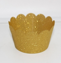 2015 New Product Laser Cut Glitter Gold Cupcake Wrappers