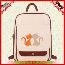 2015 hot school style PU backpack with cat