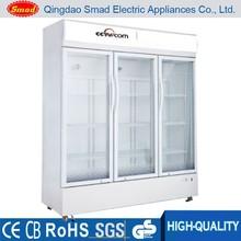 supermarket commercial glass door fridge Triple Door Beverage Showcase refrigerator
