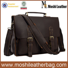 0344 Medium Size Vintage Style Real Cowhide Leather Business Portfolio for Men fit 13 inch Laptop