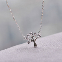 Trendy Charm Design Solid Sterling Silver Tree Necklace