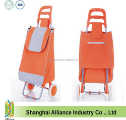 Orange Color Promotional Cheap Folding Shopping Trolley Bag with 2 Wheels