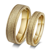 Jewelry Manufacturer China Stainless Steel Gold Plated Sandblasting Titanium Couple Ring