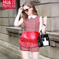 European Grand Prix brand fashion doll collar suit summer organza embroidered houndstooth + shorts suit Wholesale