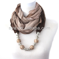 New arrive hot sale elegant ladies decorated with beads scarf