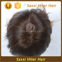 Synthetic black and gray hair mixed color natural toupee for men