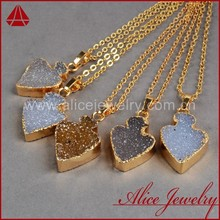 2015 Fashion fat arrowhead jewelry gold plated wholesale druzy drusy pendant charm necklace