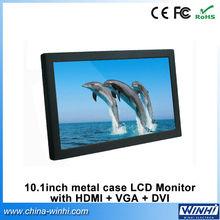 10inch black metal shell VGA DVI small lcd monitor