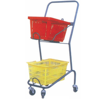 Double Layers Rolling Basket Trolly for hand basket
