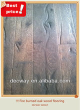 Fire burned solid oak wood flooring antique style