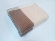 Embossed stripe fleece blanket two sides brushed 100% polyester