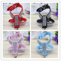 High quality PU Pet collar leash dog leash with High-grade diamond PU leather harness sets