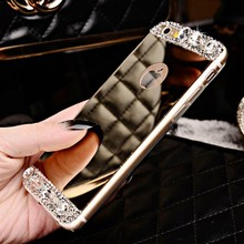 Luxury Crystal Stone Mirror Back Soft Phone Case Cover For iPhone 6