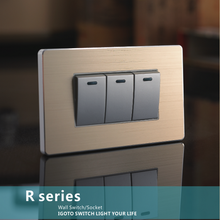 America standard brushed Aluminium plate wall switch aluminum plate switches luxury 3 gang wall switches