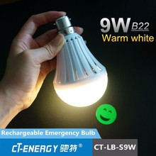 CE certification approve 1200mah battery rechargeable emergency bulb lamp 9W warm white