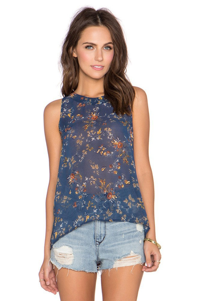 See Through Sexy Floral Print Tops For Young Lady Sexy ...