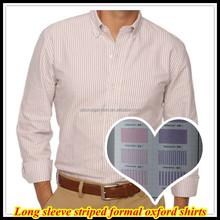 New arrival Men's Elegant 100%Cotton High quality Long sleeve Striped Oxford Formal Shirts QR-4881