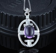 925 sterling silver oval fancy design fine jewelry for lady natural amethyst stone pendant necklace