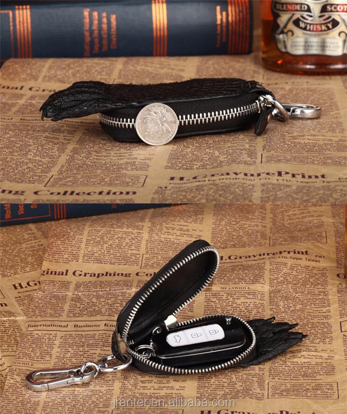 2016 Hot Sale Custom brand logo crocodile leather key case for car _8