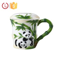 Porcelain lovely panda and bamboo cup with cover for tea