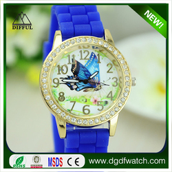 Top sale outdoor sports big case silicone watch many colors,Diamond watch