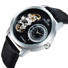 2015 NEW sport design SKONE genuine leather wrist watch men automatic