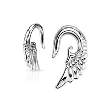 Steel Angelic Wings Hanging Taper Ear Plugs Tunnel Body Piercing Jewelry