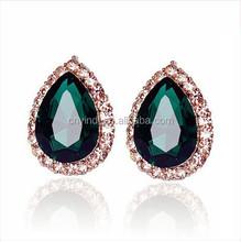 Hot Sales Rose Gold Water-drop Crystal Stud Earrings