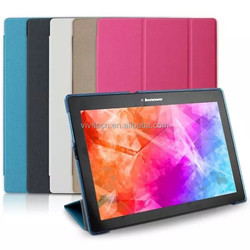 Ultra thin Smart Cover with PC shell wrapped with leather case for Lenovo Tab 2 A10-70 10.1inch