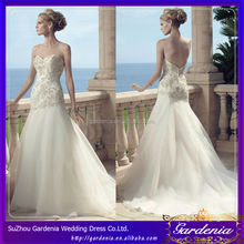 2014 Casual Beach Mermaid Halter Layered Appliqued Backless Chapel Train Organza Skirt Sexy Halter Chinese Style Wedding Dress