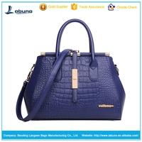 2015 New Office Lady Leather Luxury Fashion Crocodile Tote Top Handle Crossbody Shoulder Satchel Purse Handbag for Women
