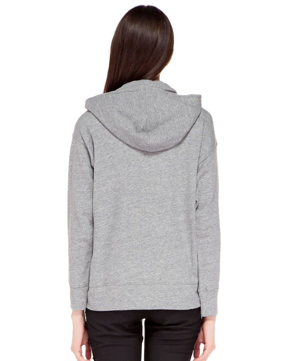 Women Cotton And Polyester Blend Gray Fleece Hoodie