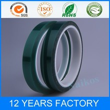 high temperature single sided green polyester tape with silicone adhesive
