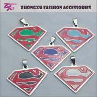 new fashion enamel custom stainless steel superman pendant charms