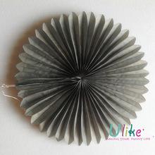 10 inch grey wedding hanging tissue paper fan wall decoration