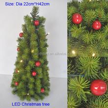 Mini LED pine needle Christmas tree w/ red berries