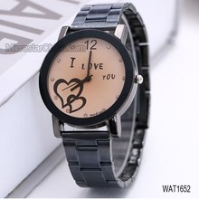 WAT1652 2015 hot selling lover steel table fashion leisure men ladies watches wholesale