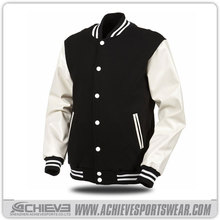 hot sale high quality varsity jacket with leather sleeve
