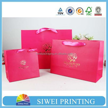 Customized paper gift bag&Birthday gift bag&christmas gift bag with ribbon handle and spot glitter